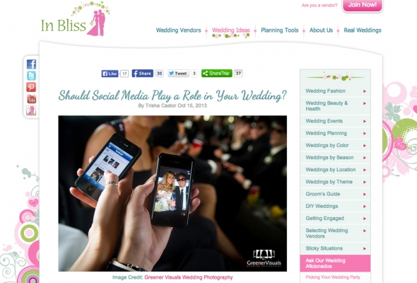 Social Media and Weddings - In Bliss Weddings blog features Greener Visuals Wedding Photography photo