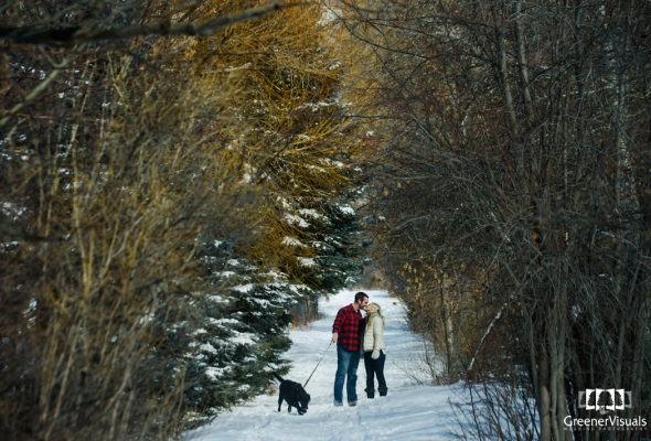 Rachel & James Winter Engagement Photos on the Gallatin River in Bozeman Montana