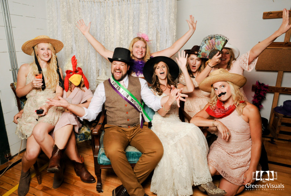 Virginia City Montana wedding reception photo booth