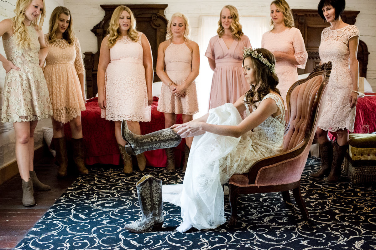 Virginia City Montana wedding day bride getting ready