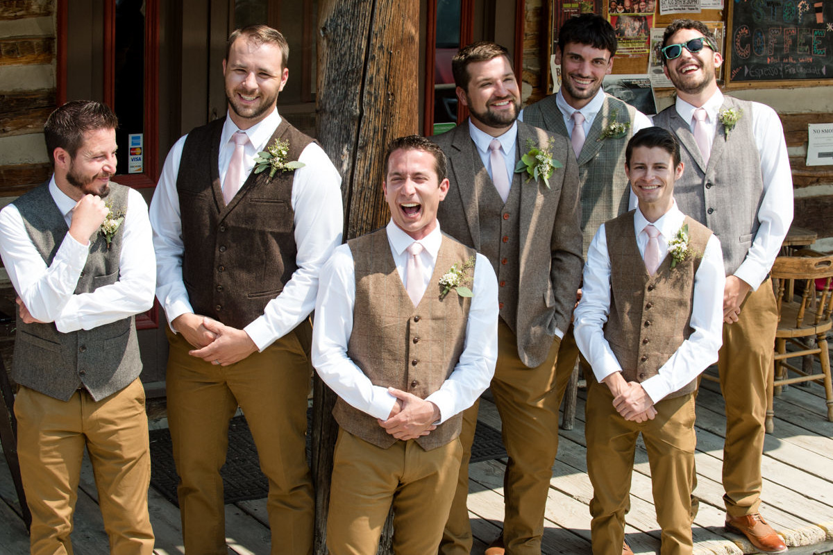 Virginia City Montana wedding day bridal party laugh