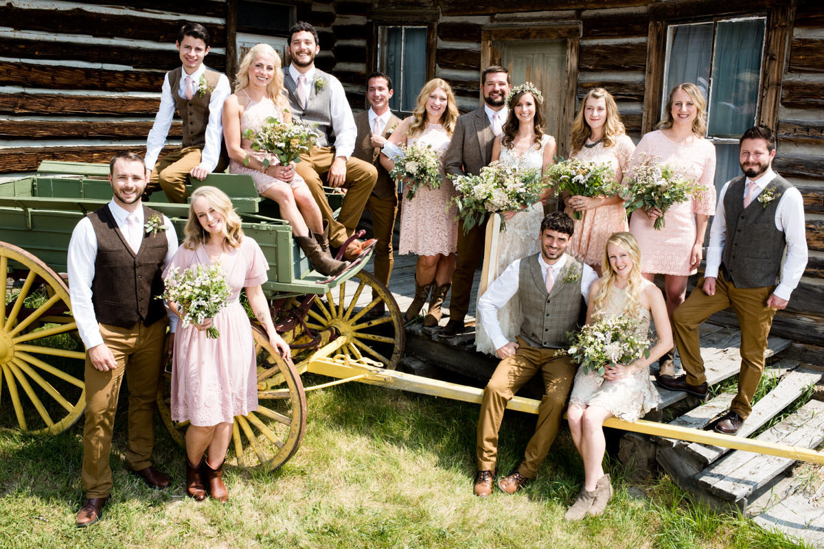 Virginia City Montana wedding day bridal party portrait