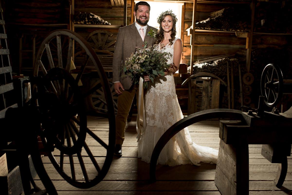 Virginia City Montana wedding day rustic bride and groom