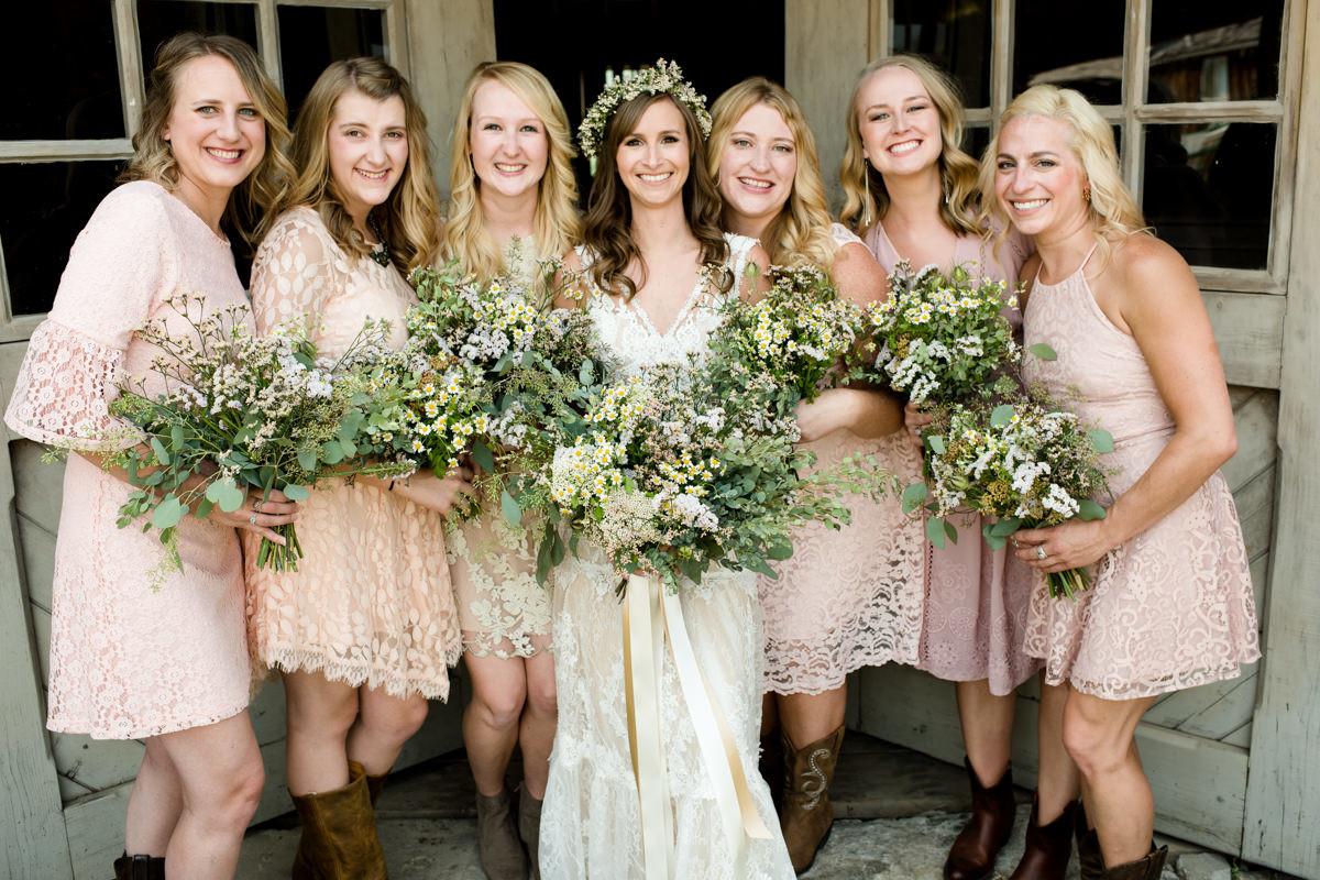 Virginia City Montana wedding day bridal party