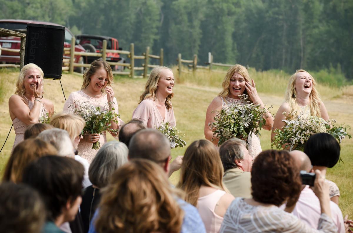 Virginia City Montana wedding day ceremony crying bridesmaids