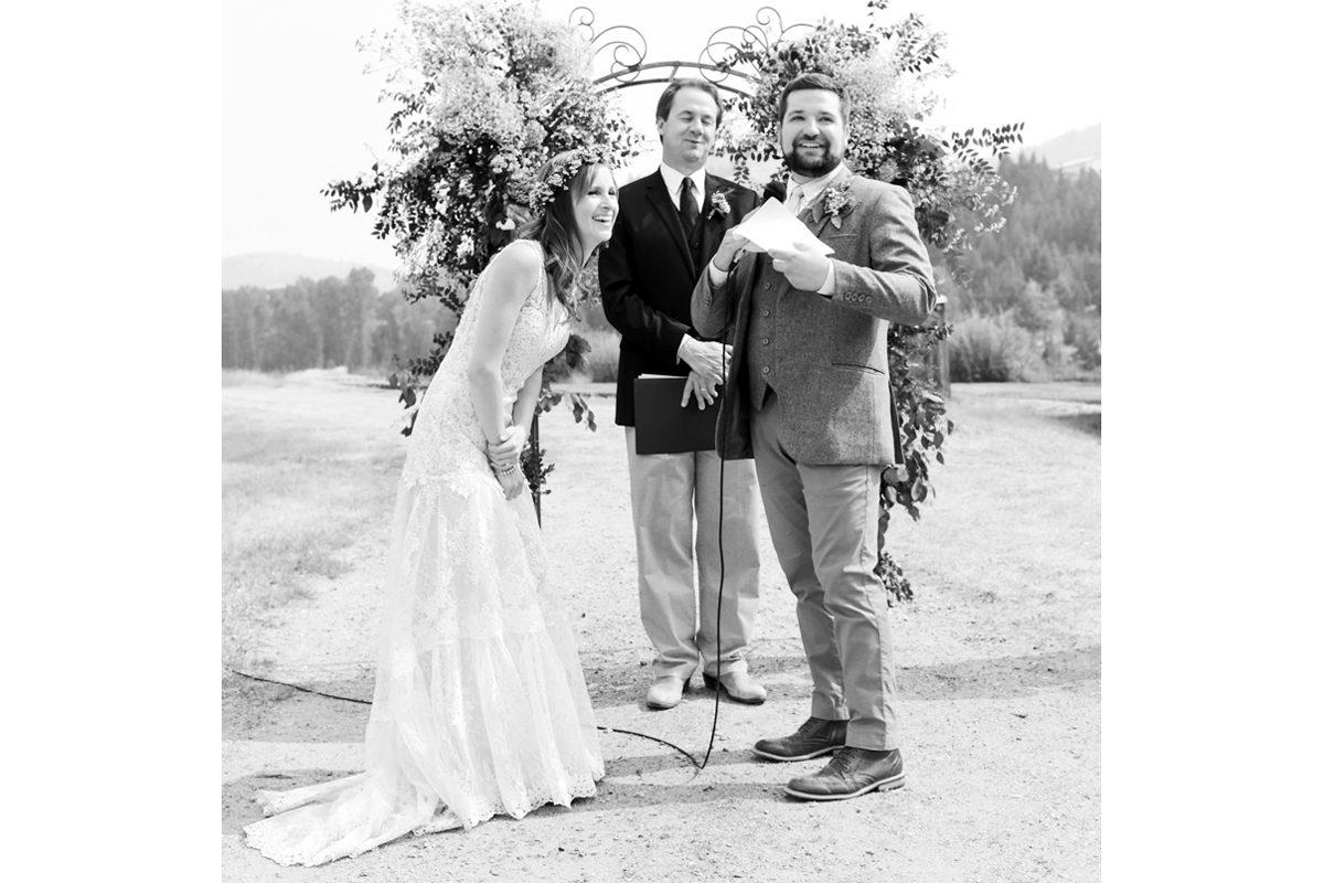 Virginia City Montana wedding day ceremony Gov. Steve Bullock laugh