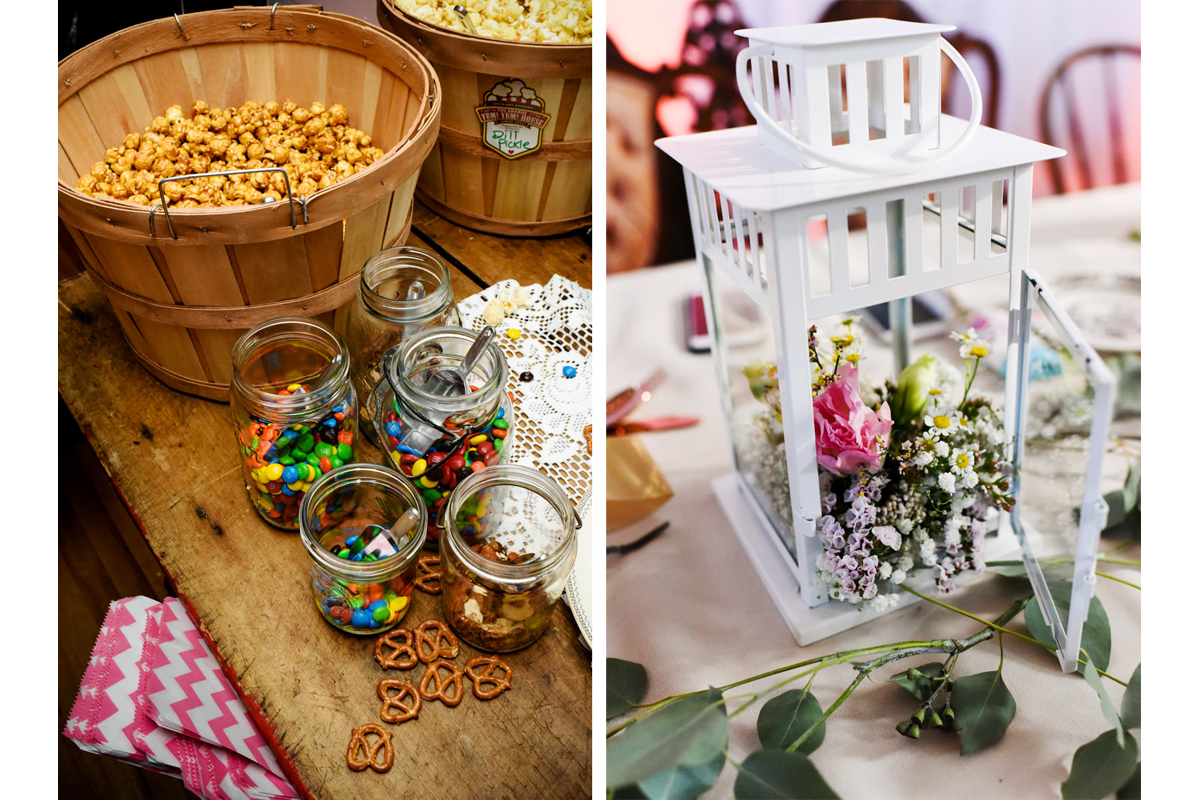Virginia City Montana wedding day reception candy decorations