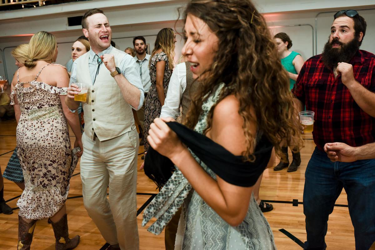 Virginia City Montana wedding day reception dancing
