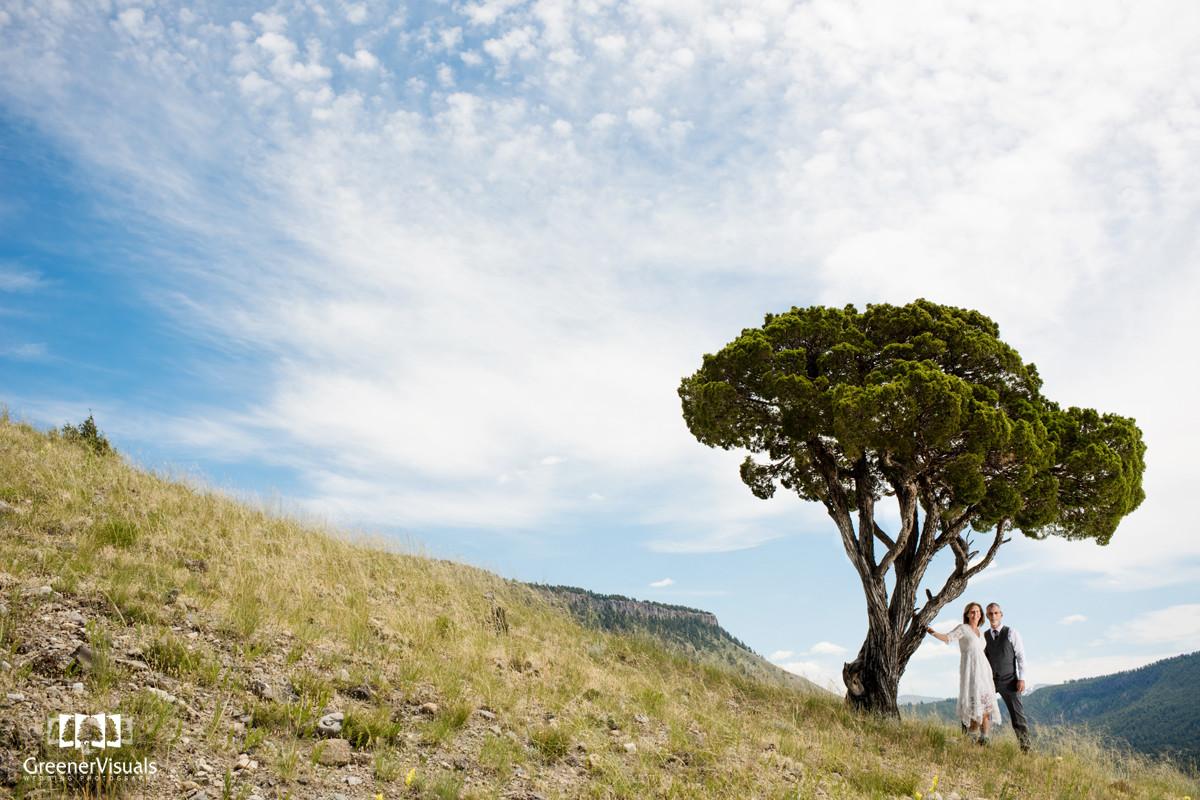 Yellowstone National Park Wedding Day portrait