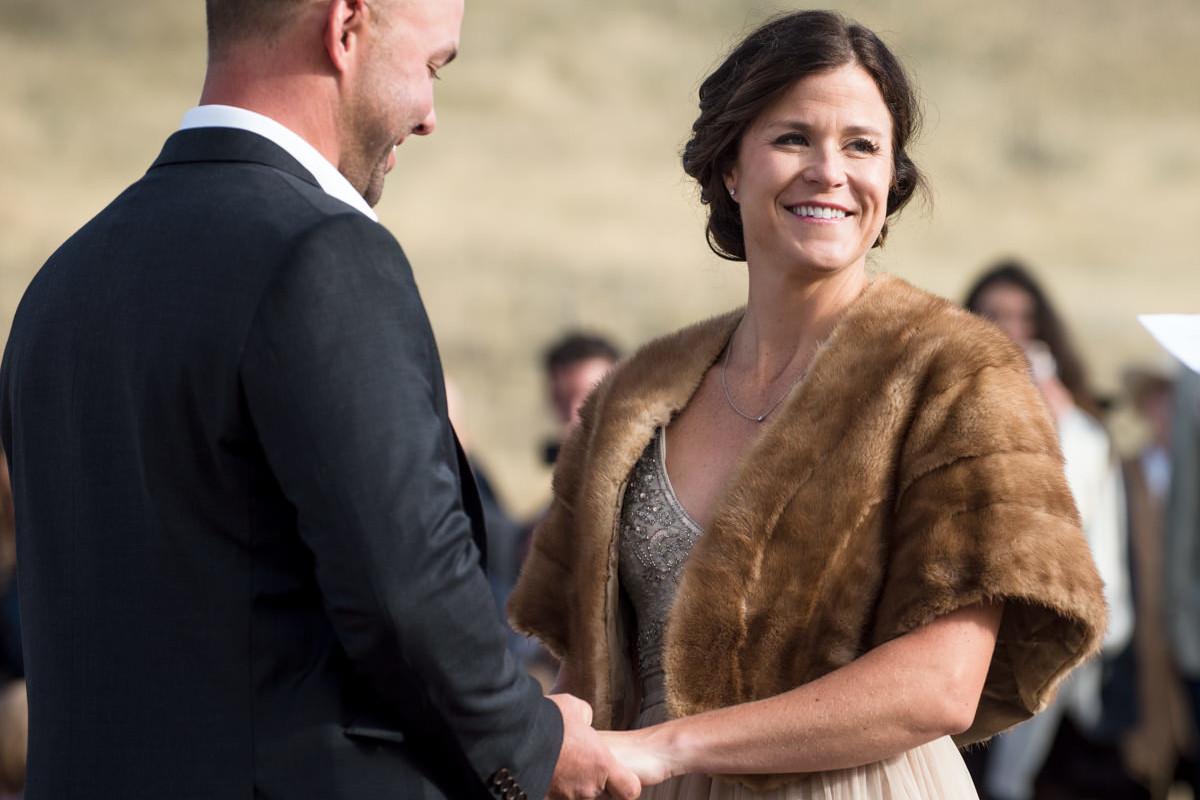 Paradise Valley Montana Wedding ceremony bride yellowstone river