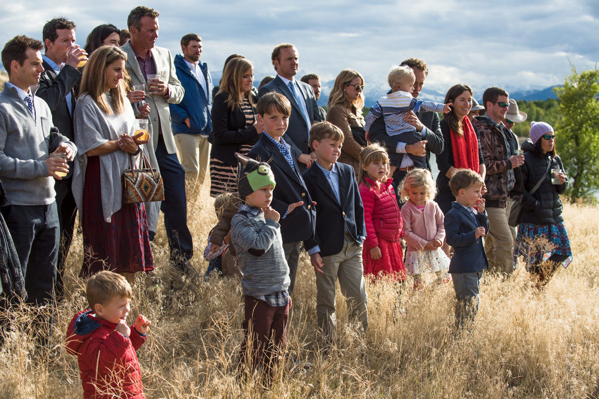 Paradise Valley Montana Wedding ceremony guests yellowstone river