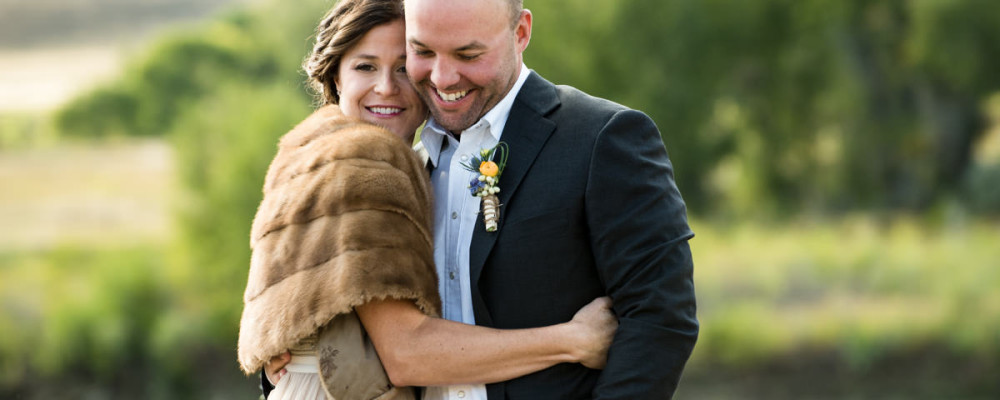Paradise Valley Montana Wedding bride groom hug