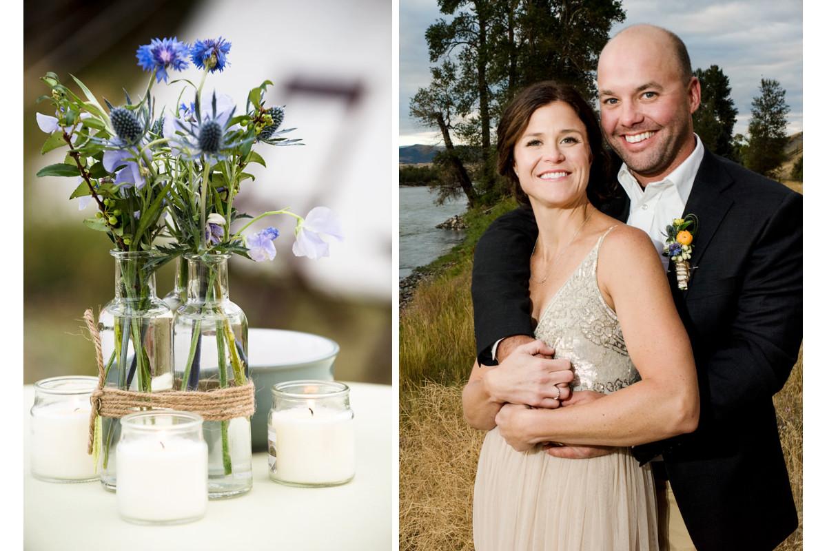 Paradise Valley Montana Wedding flowers bride groom portrait