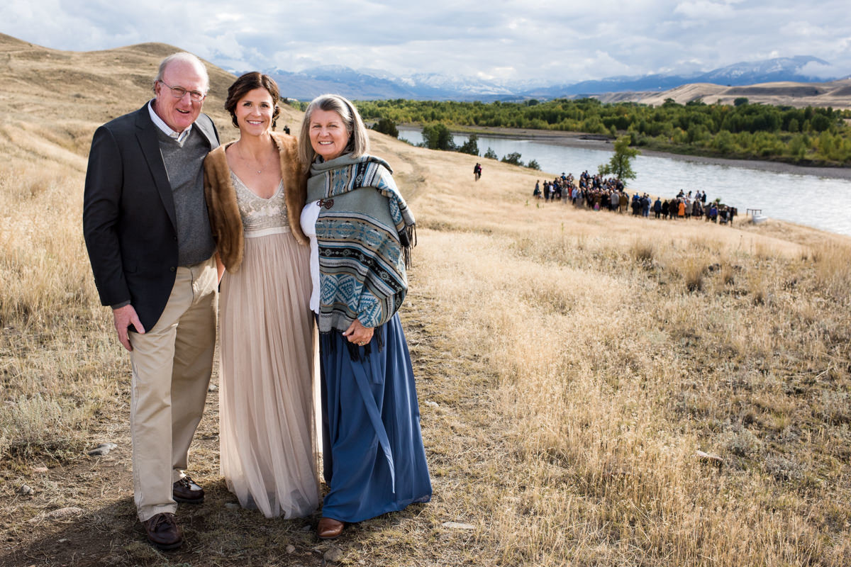 Paradise Valley Montana Wedding bride with parents