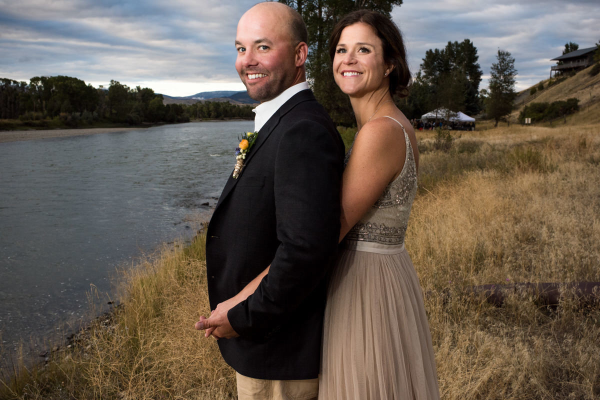 Paradise Valley Montana Wedding bride groom Yellowstone River