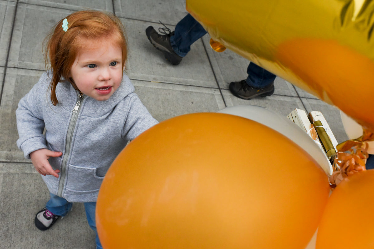Bellingham Washington Family Portrait orange balloons