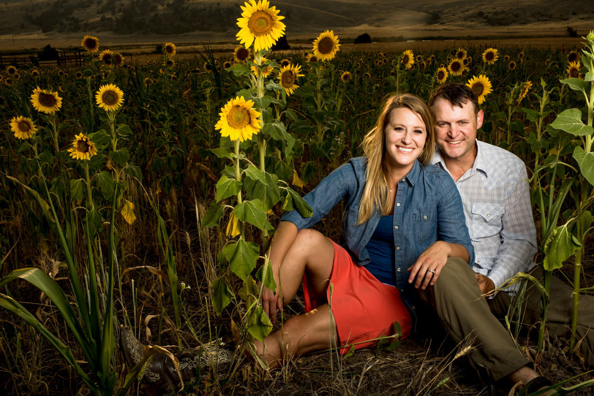 Sunflower Portrait Couple Engagement Bozeman Montana