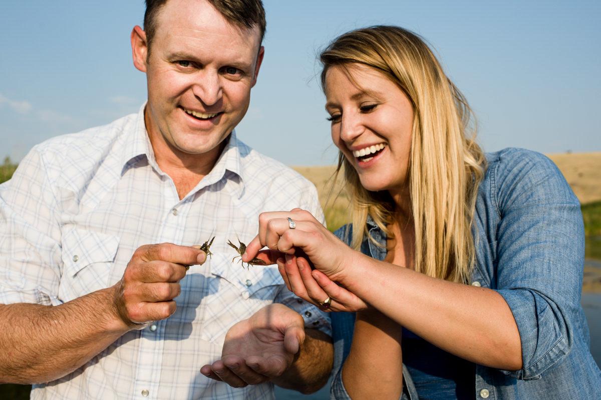 Madison River Engagement Portrait Couple Sunset Crawfish