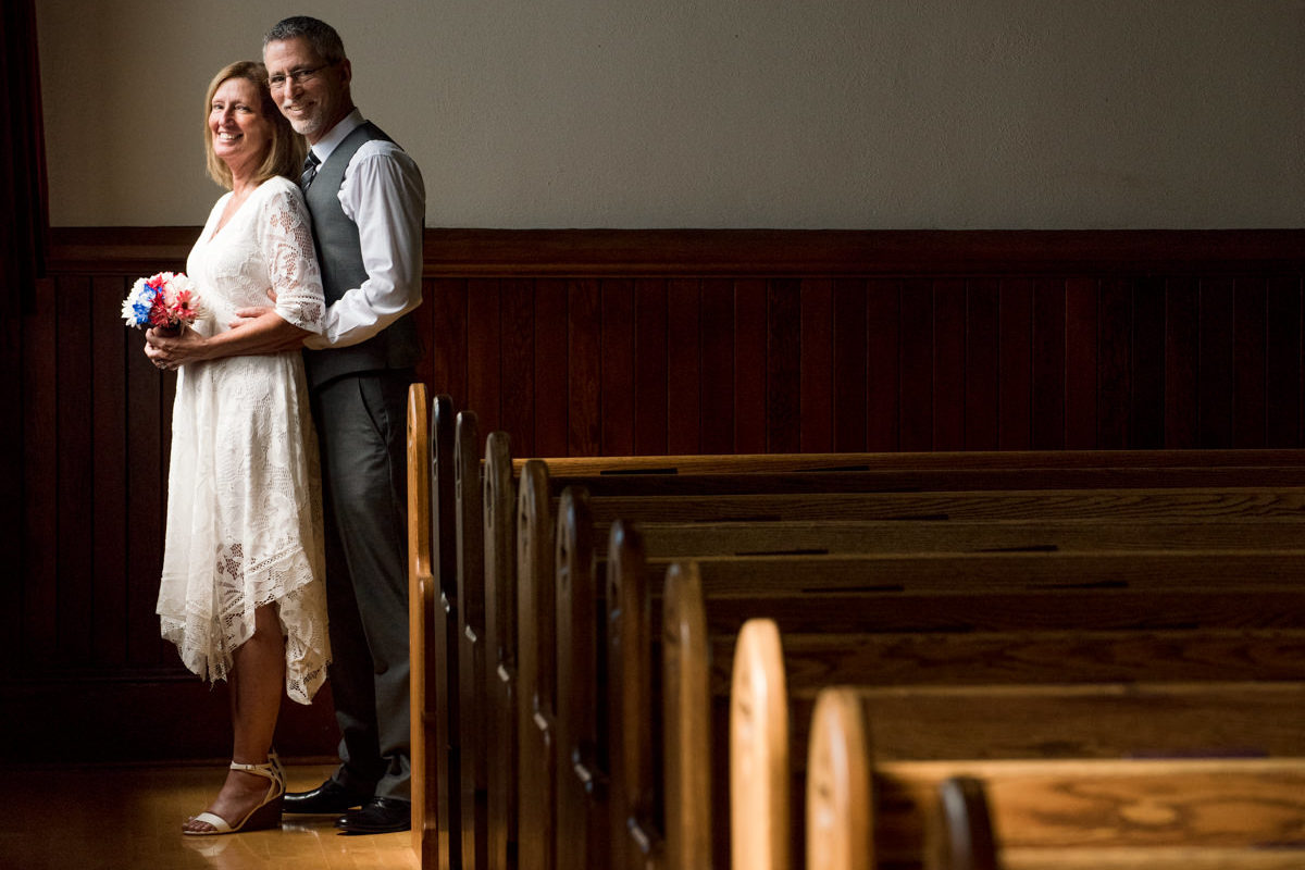 Yellowstone National Park Mammoth Chapel wedding couple