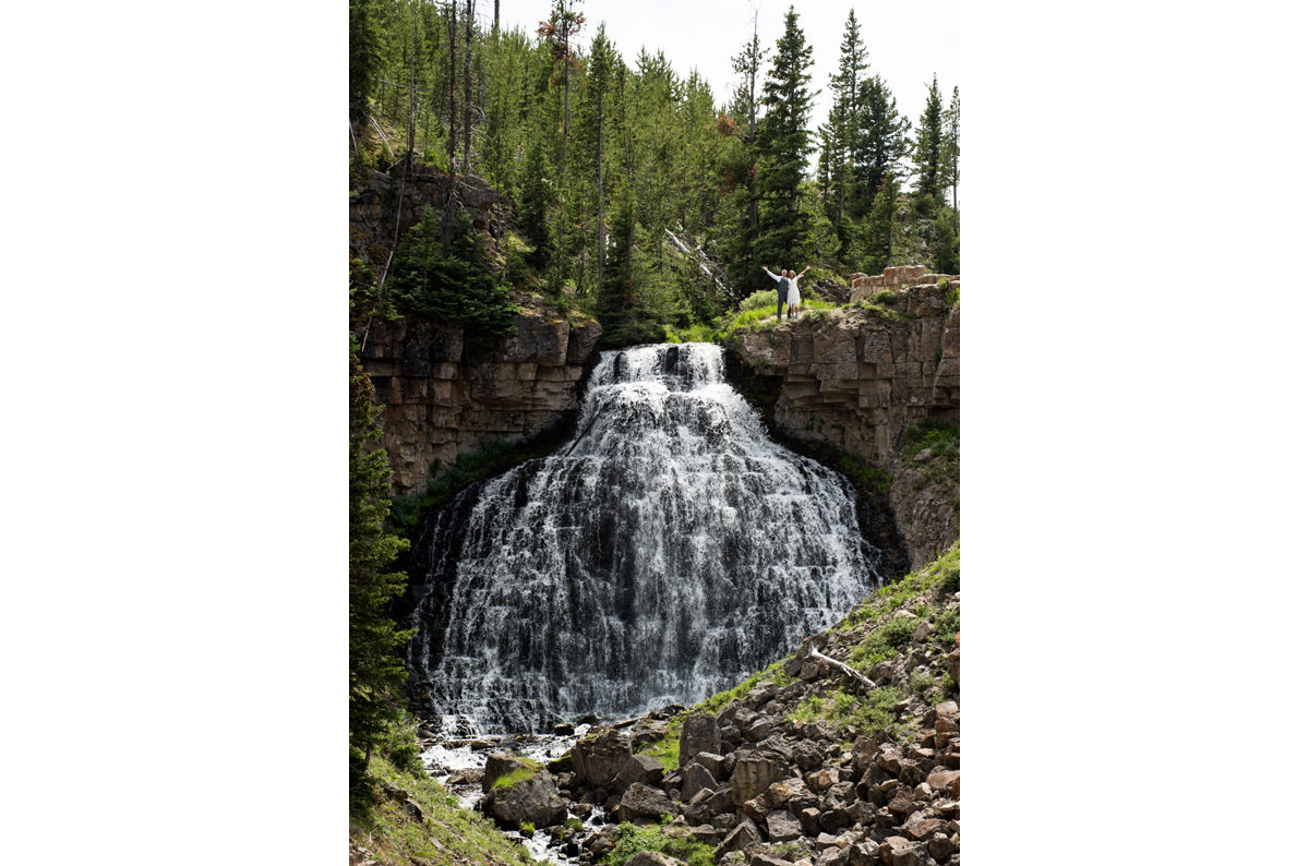 Yellowstone National Park wedding couple waterfall